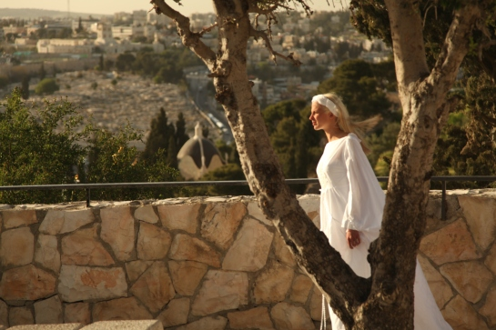 Sarah Saxon on location Mount of Olives Jerusalem