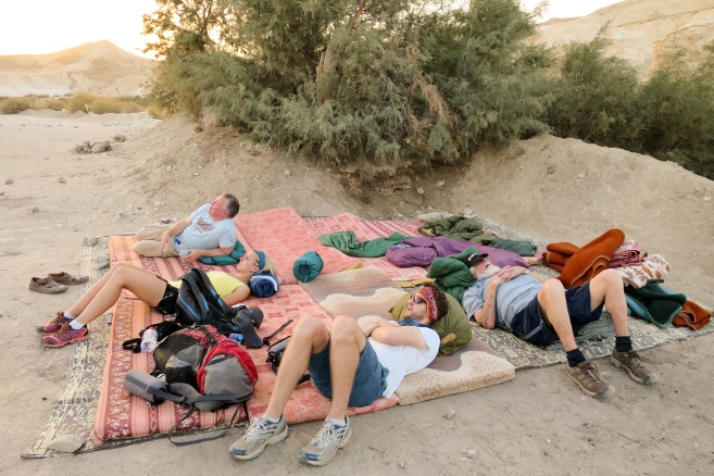 Some of our gang `resting` in the Negev desert